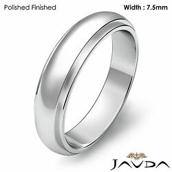 Wedding Band Women Dome Comfort Fit Solid Ring 7.5mm Platinum 12.4gm Sz 7 - 7.75