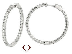 1.75ct Round Cut Diamond Hoops G-h Si 14k 1.25and039and039