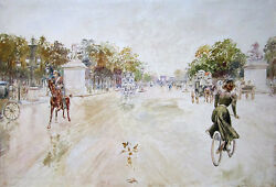 Georges Stein Signed C. 1912 Original French Impressionist Watercolor Of Paris