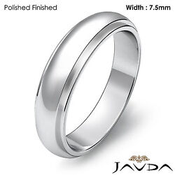 Men Wedding Band Dome Comfort Fit Ring 7.5mm 18k White Gold 10.9gm Size 12-12.75
