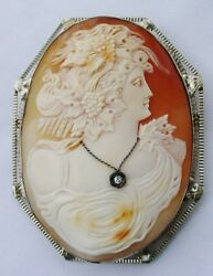 Antique Huge14k The Best Bacchante Filigree Cameo Diamond Necklace Brooch Pin