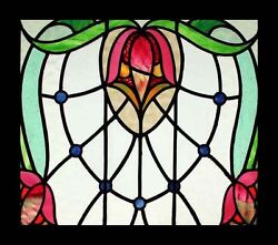 Delicious Art Nouveau Floral English Antique Stained Glass Window Stunning