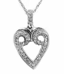Diamond Open Heart Necklace In 14kt White Gold. 33pts. T.w. On Chain