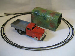 Vintage Shuco Varianto Lasto W/ Tin Tunnel And Guide Wire 3042 Toy Truck Red Nice