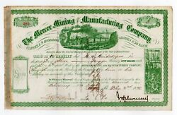 J. H. Devereux - Mercer Mining And Manufacturing Co Stock Certificate