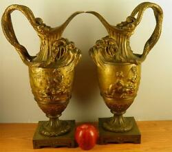 ANTIQUE PAIR BRONZE MYTHOLOGICAL FIGURAL EWER URNS SNAKE HANDLES PAN MAIDENS