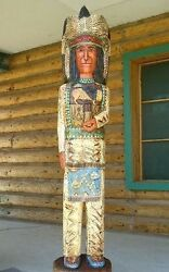 6and039 Cigar Store Wooden Indian Chief Sculpture Native Carved Frank Gallagher