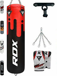 Rdx Filled Punch Bag Heavy Duty Kickboxing Set Punching Hanging Bags Gloves 4pc