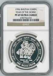Rare 1996 Bhutan Year Of The Horse Silver Proof Coin Ngc Pf69