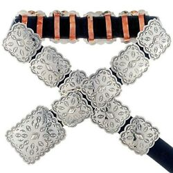 Native American Navajo Hand Hammered Square Silver Concho Belt By Tom Ahasteen