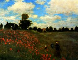Poppies At Argenteuil 1873 Flowers Field Mother Child Walk By Claude Monet Repro