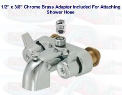 """3-3/8"""" Chrome Heavy Brass Clawfoot Tub And Shower Diverter Add-a-shower Faucet"""