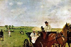 A Carriage At The Races Horse Mother Baby Driver Dog 1873 By Edgar Degas Repro