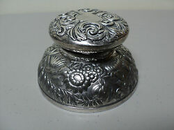 Large Victorian Era Meriden Silverplate Inkwell Heavy Chased Floral Decoration