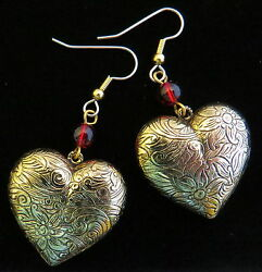 Heart Earrings Big And Chunky 24 Karat Gold Plate Ruby Red Glass Beads Valentine