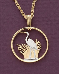Blue Heron Pendant And Necklace Malawi Coin 3/4 Diameter Hand Made  231