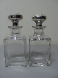 Matching Pair Antique Cologne / Perfume Bottles With Sterling Silver Tops
