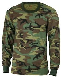 LS Kids Camo T shirt Long Sleeve Woodland Camouflage Boys Shirt Rothco 6705 $11.99