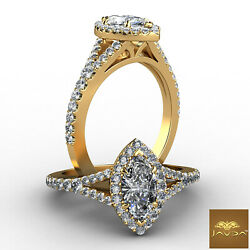 Halo Split Shank Marquise Cut Diamond French Pave Engagement Ring Gia F Vs2 1ct