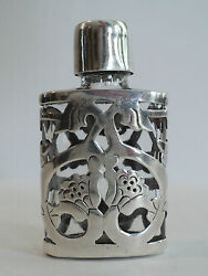Taxco Mexico Glass Scent / Perfume Bottle W/ Sterling Silver Overlay Decoration