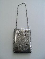 Antique Sterling Silver Ladies Dance / Coin Purse With Compact 104 Grams