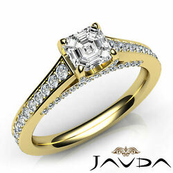 Micro Pave Setting Asscher Shape Diamond Engagement Gold Ring Gia G Vs2 1.25ct