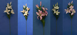 Six Quality 27 Choose Tiger Lily Artificial Faux Silk Flower Spray