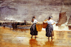Fisher Girls On The Beach Cullercoats 1881 England Paint By Winslow Homer Repro