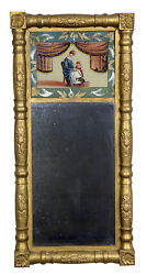 Swc-gilt Empire Mirror With Reverse Painting C. 1830