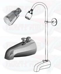 Chrome Bathtub Diverter Spout Add-a-shower Kit With Shower Riser And Shower Head