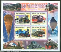Chad 2014 Old Trains Set Of Two Collective Sheet Of Four  Mint Nh