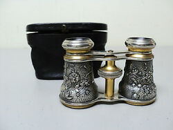 Rare Cased Antique French Silver And Brass Opera Glasses Aesthetic Movement Design