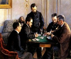 The Bezique Game Men Playing Cards 1881 French Painting By Caillebotte Repro