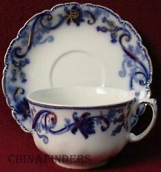 Johnson Brothers China Andorra Flow Blue Breakfast Cup And Saucer Set 2-1/2 X 4