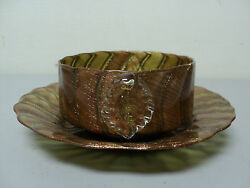 Fabulous Antique Murano Art Glass Dish And Under Plate, Copper And Gold Adventurine