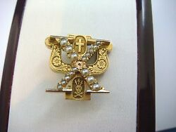 14k Yellow Gold Hi Psi Sorority Pin With Pearls, Engraved On A Back, 5.4 Grams