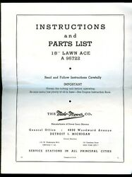 Moto-mower 18 Lawn Ace A95722 Gas Powered Mower Owners Manual 1951