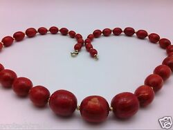 Vintage Art Deco Bakelite Burnt Orange Amber Cherry Colored Necklace Gold Filled