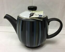 Denby Jet Stripes Large Teapot 6 3/4 High,stoneware Brand New Made In England
