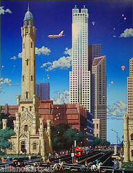 Old Water Tower - Chicago Landmark Textured Mixed Media S/n By Alexander Chen