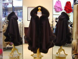 Chocolate Brown Hooded Cashmere Cape With Fox Fur Trim Beautifully Canadian