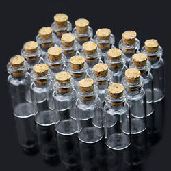 Wholesale 100pcs 2ml 16x35mm Small Tiny Empty Clear Glass Bottle Vials With Cork