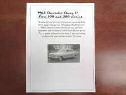 1963 Chevrolet Chevy Ii Factory Cost/dealer Sticker Pricing For Base+options