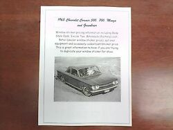 1963 Chevrolet Corvair Factory Cost/dealer Sticker Pricing For Base+options