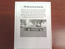 1963 Chevrolet Corvette Sting Ray Factory Cost/dealer Sticker Pricing + Options