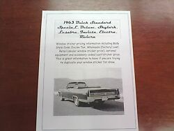 1963 Buick All-model Factory Cost/dealer Sticker Pricing For '63 Base + Options