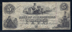 1854 Us Obsolete Currency - Bank Of Milledgeville Ga 5 Dollars Vf/xf