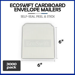 3000 - 6 X 6 White Cd/dvd Photo Shipping Flats Cardboard Envelope Mailers 6x6