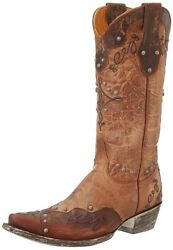 New Old Gringo Alissa L1614-1 Brass Brown Studded Womens Western Cowboy Boots