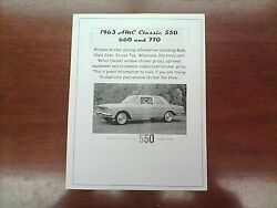 1963 Amc Classic Factory Cost/dealer Sticker Pricing For Car + Options